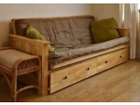 Almost new Ikea solid wood Kyoto style futon sofa bed with removable drawers