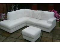 white leather corner settee £100 if collected today!
