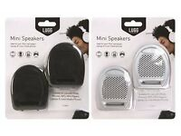 WHOLESALE JOB LOT OF BRAND NEW MINI SPEAKERS x 24 IN BLACK AND SILVER