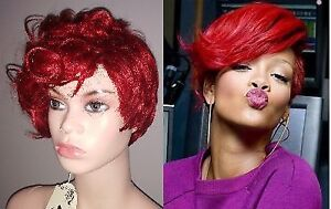 BRAND NEW: Deluxe Pixie RED Asymmetrical Wig for RIHANNA Costume