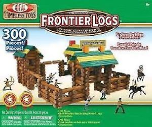 Deal Frontier Logs Classic All Wood Construction Set with 300 pi