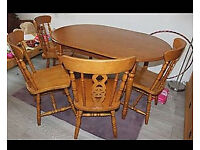 Wooden Dining Table And 4 Chairs Rustic Hard Wood Kitchen Set