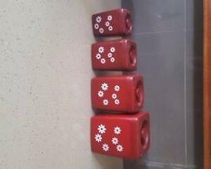 VINTAGE 60'S CANISTER SET 4, RED WITH WHITE FLOWERS SET 4 Emu Heights Penrith Area Preview