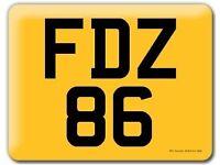 FDZ 86 - CHERISHED REGISTRATION NUMBER PLATE - ON RETENTION CERTIFICATE - DATELESS