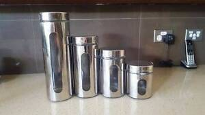 STAINLESS STEEL COVERED GLASS CANISTER SET Emu Heights Penrith Area Preview