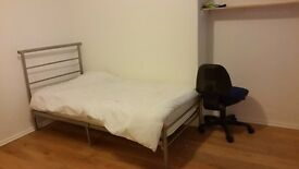 Bright single room with shower room with huge wardrobe in specious flat
