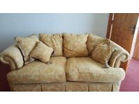 Sofa - 3 Piece suite - Gold coloured rich material