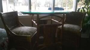 Nested Glass-topped Bamboo Table w/ 2 chairs