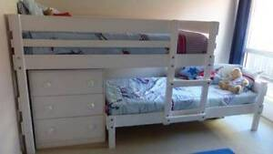Bunkers Lo-line Longwall Bunk Bed with Lo-line chest WHITE Murrumba Downs Pine Rivers Area Preview