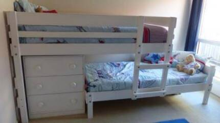 Bunkers Lo-line Longwall Bunk Bed with Lo-line chest WHITE