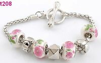 handmade European beaded charm bracelet with clasp
