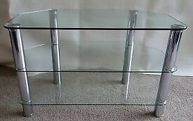 Glass and chrome tv stand.