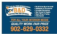 B&D Contracting and Drywall for all your interior needs!