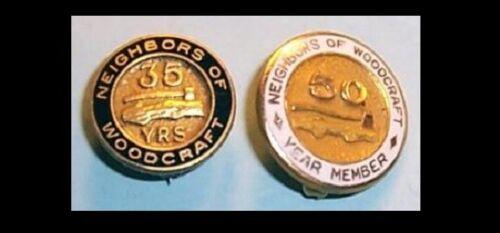 Neighbors of Woodcraft ,35 & 50 Year Pins,Insurance,Benevolent Society 1/10 10K