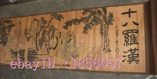 Rare, Chinese Collectable old scroll painting of Eighteen Arhats