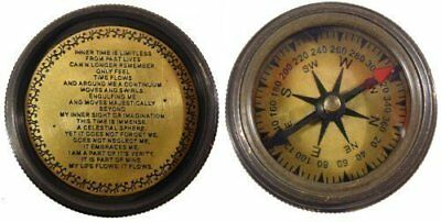Antique style reproduction hand held Stanley compass with inscribed poem.