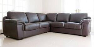 Charmant Brown Leather Corner Sofa Bed