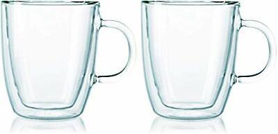 Bodum Bistro Double-Wall Insulated 10-Ounce Glass Mug, Set o