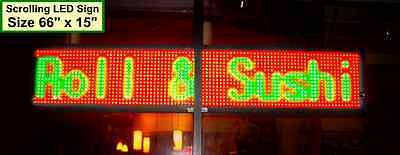 Rgy 66x16 Outdoor Led Sign Programmable Scrolling Message Display Board Open