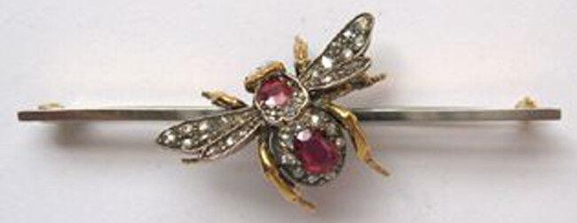 1.22ct Rose Cut Diamond Antique Look 925 Silver Ruby Gemstone Brooch Pin