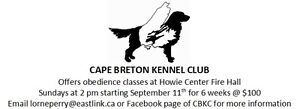 Dog Obedience Classes by the Cape Breton Kennel Club