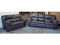 RRP £2000 Brown Thick Leather HUGE 3&2 Seater Designer Sofas.WE DELIVER