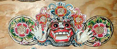 "Bali Hindu Boma Mask Great for Entrance way Hand carved 16"" WHITE  NATURAL"