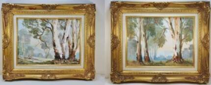Nan Rogers Pair of Original Framed Oil Paintings Coogee Cockburn Area Preview