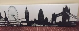Stretched canvas print, London city scape, Black and White