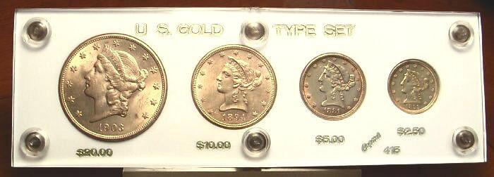 4pc US Gold Coin Type Set: $20+$10+$5+$2.5 Liberty Double Eagle Half Quarter
