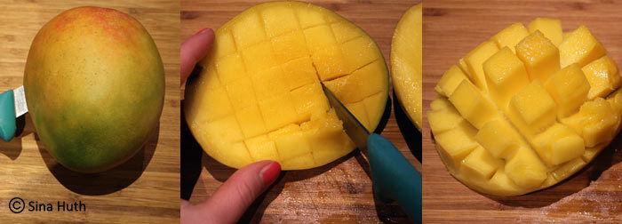 Halbieren, einritzen, stülpen - so entsteht der Mangoigel.