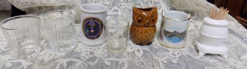 7 VINTAGE GLASS/CERAMIC TOOTHPICK, SHOT GLASS LOT~OWL, POT BELLY STOVE, ETC