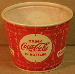 50'S COKE ICE BUCKET AND 70'S SYRUP MACHINE GLASSES