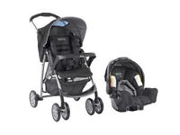 Graco pushchair with car seat and raincover