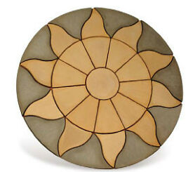 Stone Concrete Aztec Sun Circle Patio Paving Set 1.8 Meters Charcoal & Cotswold Stone Looks Really G