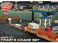 Chad Valley train and crane set.