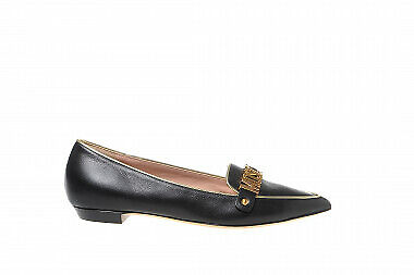 Moschino Women's shoes leather Lettering Logo black loafers Moschino Leather Flats
