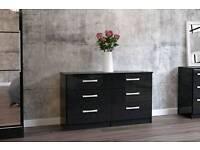 Black gloss 6 drawer chest