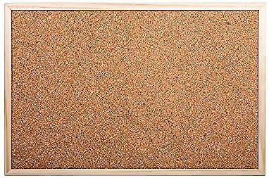 DESK TECH Small Cork Bulletin Board with Wooden Frame 12 x 18 inches Beige