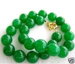 10MM NATURAL GREEN JADE BEAD NECKLACE 18