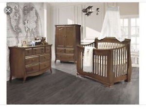 Convertible Crib Set with Armoire and Dresser