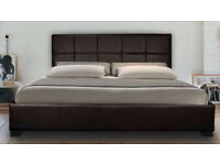 """New """"MADRID"""" BLACK Faux Leather 4ft6 Double Bed with Memory Foam Mattress"""