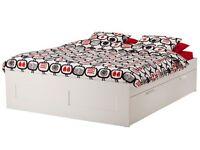 brimnes-bed-frame-with-storage-white + mattress (£100), Ikea