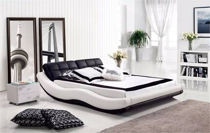 【Brand New】 Modern and Elegant Real Leather Bed Frame King Queen