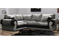 Crushed velvet Ashley corner sofa