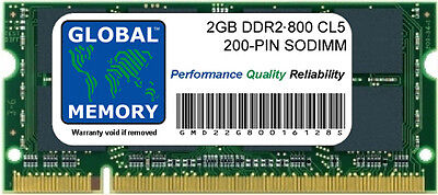 2GB DDR2 800MHz PC2-6400 200-PIN Memoria Sodimm RAM Para Portátiles/Netbooks