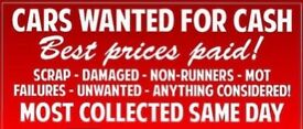 SCRAP CARS, UNWANTED CARS TOP PRICES PAID!!!