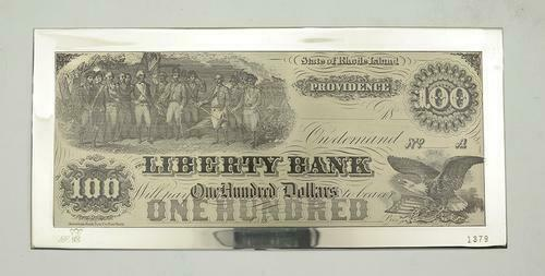 $100 American Bank Note Co. Silver Printing Plate