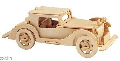 WOODEN ANTIQUE CAR gift for a man boy new under $25 free shipping toy kit  ()
