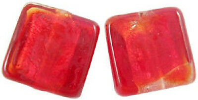 10 x Silver Foil Glass Square Beads ~Red~ 12mm